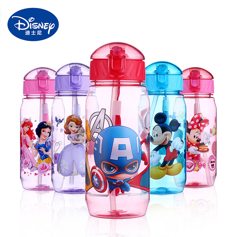 450ml Disney Kids Feeding Cups Baby Water Feeding Bottle Straw Portable Cartoon Minnie Mickey Mouse Tritan Cup My Sport Bottles