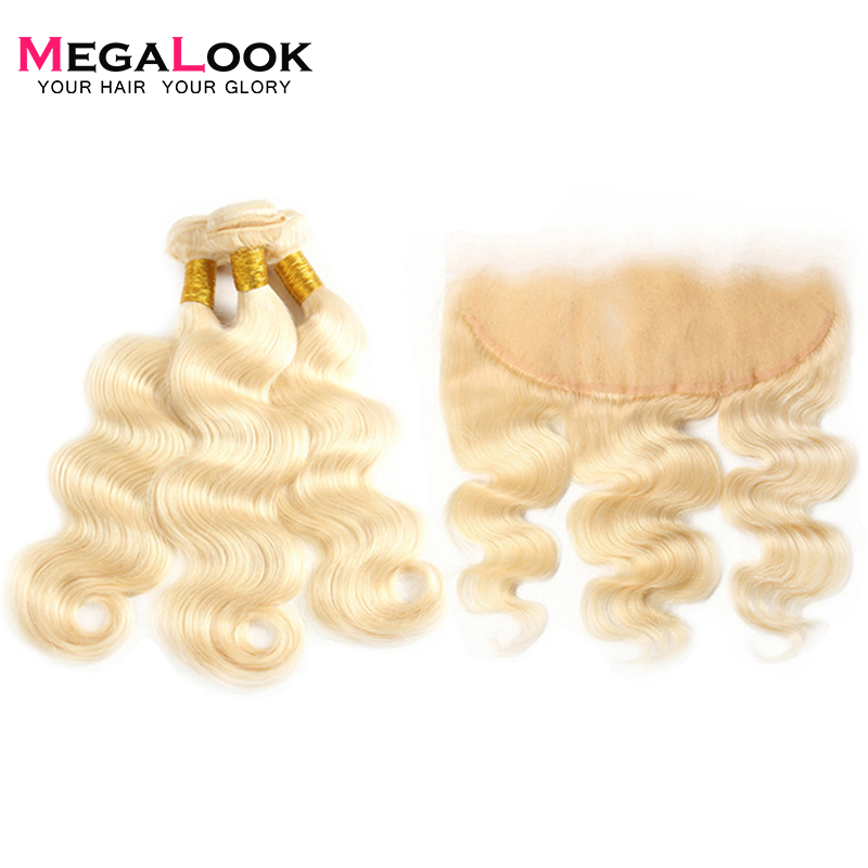 Megalook 613 Hair Bundles With Frontal 3pcs Peruvian Honey Blonde Body Wave Remy Human Hair With Lace Front Closure