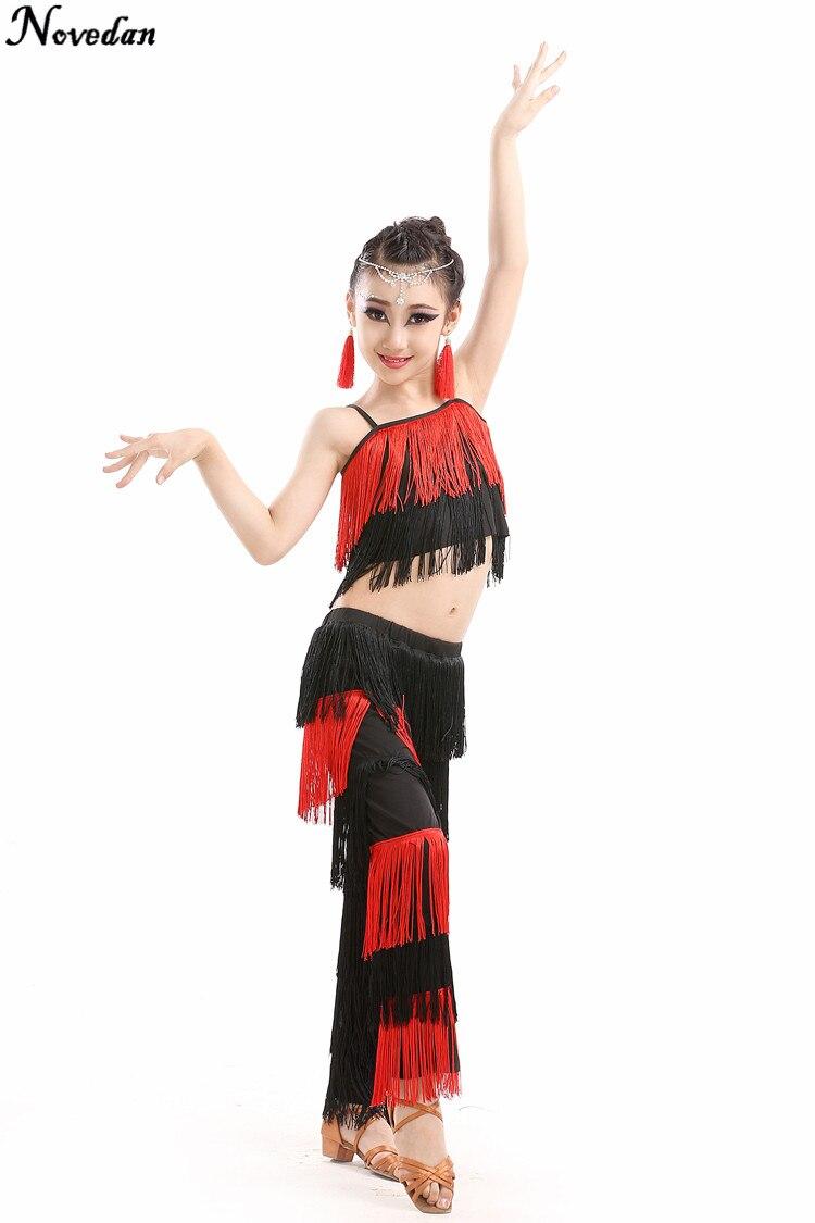 New Children Bachata Latin Dance Costumes Girls Ballroom Tango Salsa Latin Dance Competition Costume Fringe Pants Tops