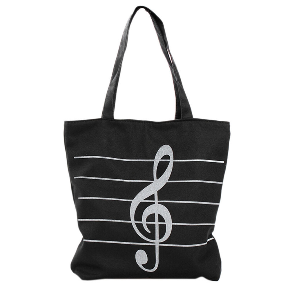1 Pcs Mode Frauen Casual Leinwand Musik Notizen Handtasche Schule Satchel Tote Einkaufstasche Schulter Casual Tote Taschen 37*10*38 Cm