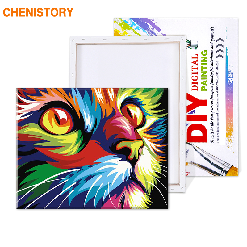 HTB1UDLYT4naK1RjSZFtq6zC2VXas CHENISTORY Frameless Cat Animals DIY Painting By Numbers Kits Coloring By Numbers Unique Gift Home Wall Art Decor 40x50 Artwork