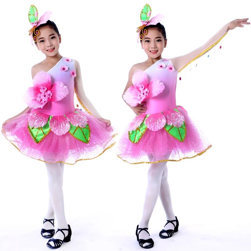 Pink Flower Dance Costumes For Girls Kindergarten Dance Costumes Kindergarten Graduation Dresses Festival Performance Clothing