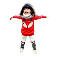 Toddlers Girls Red Velvet Clothing Set Fox Print Long Sleeve Outfit Sz 2 5t