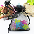 Hot 11x16cm Organza Bag Black Jewelry Packing Drawable Organza Gift Pouch Wedding Gift Bag Candy Pouch Tea Pouch Wholesale