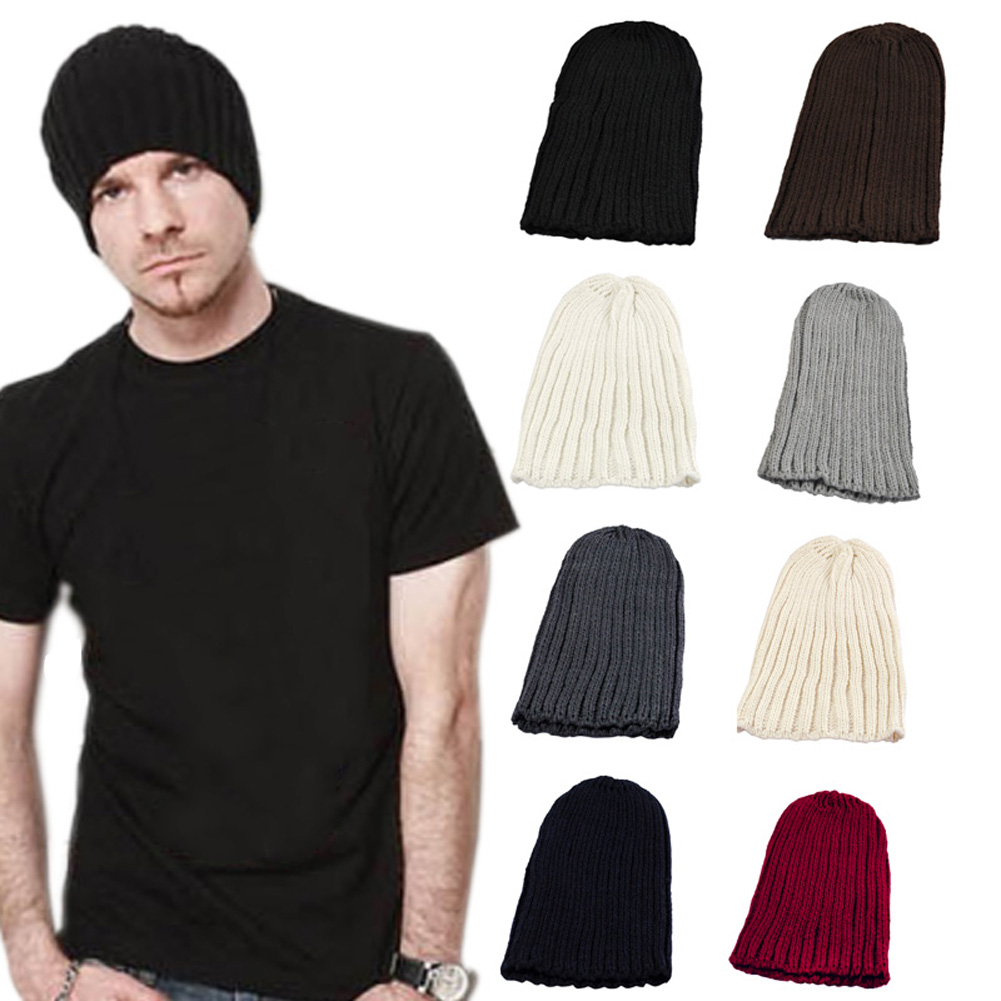 Fashion Korean Autumn Winte Men Women Turban Hat Solid Color Unisex Knitted Beanies Keep Warm Casual Crochet Cap -MX8