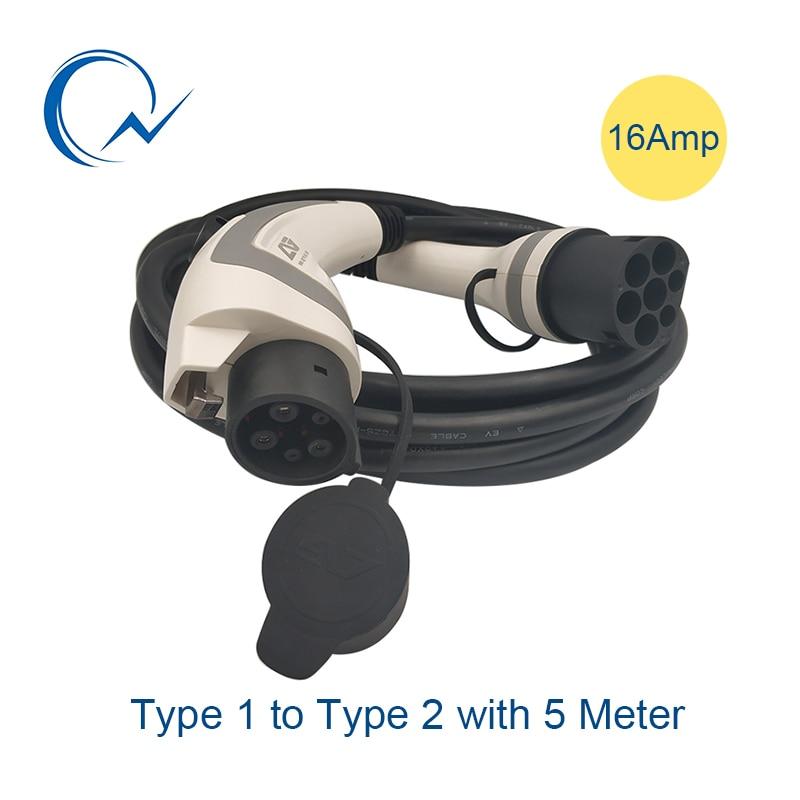 16A monophasé EV câble SAE J1772 Type 1 à Type 2 IEC62196 EV fiche de charge avec 5 mètres câble TUV/UL 3.6KW EV chargeur