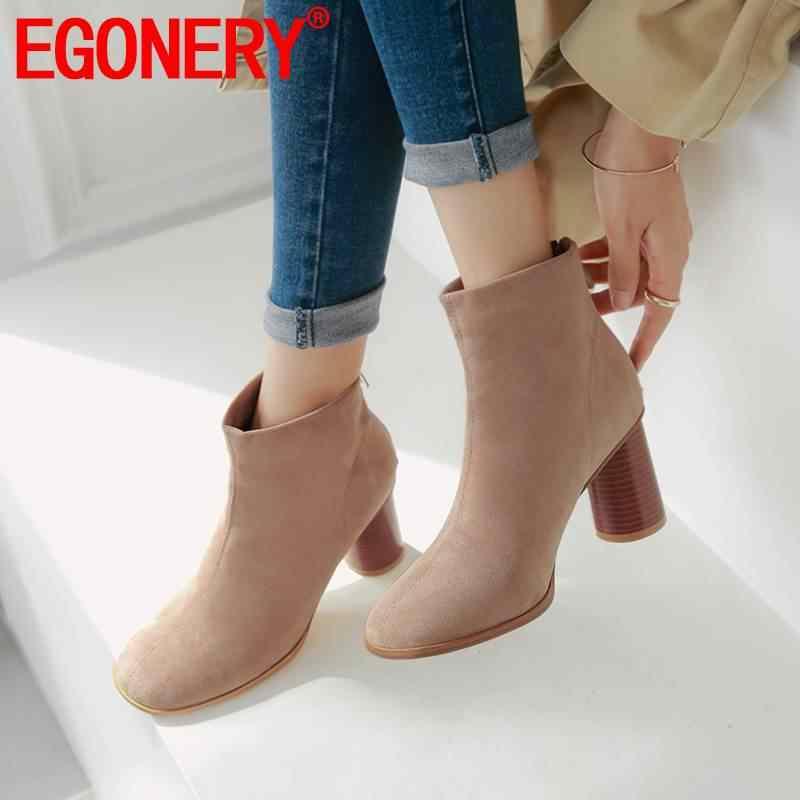 EGONERY herbst damen stiefel 2019 mode party frau arbeit stiefeletten wein rot apricot schwarz 7,5 cm hohe runde heels schuhe