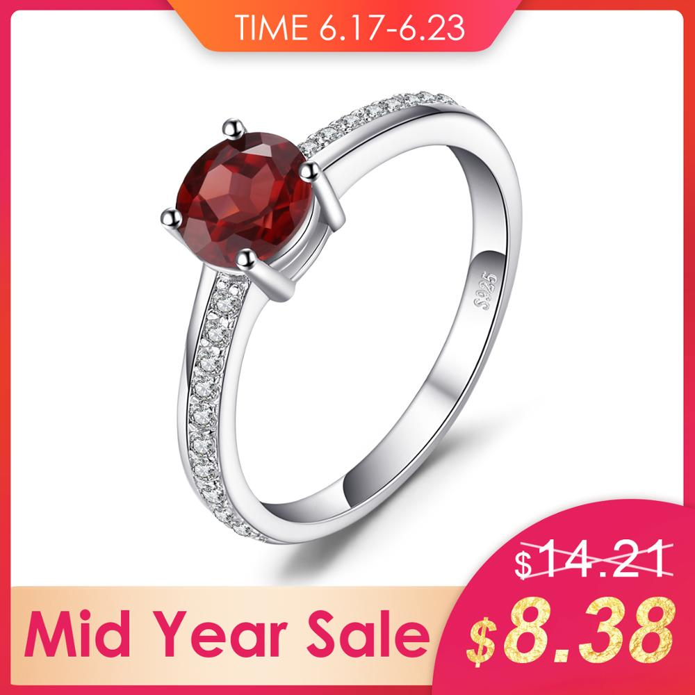 JewelryPalace Classic Round 1.3ct Red Genuine Garnet White Topaz Solitaire Engagement Ring For Women 925 Sterling Silver JewelryJewelryPalace Classic Round 1.3ct Red Genuine Garnet White Topaz Solitaire Engagement Ring For Women 925 Sterling Silver Jewelry