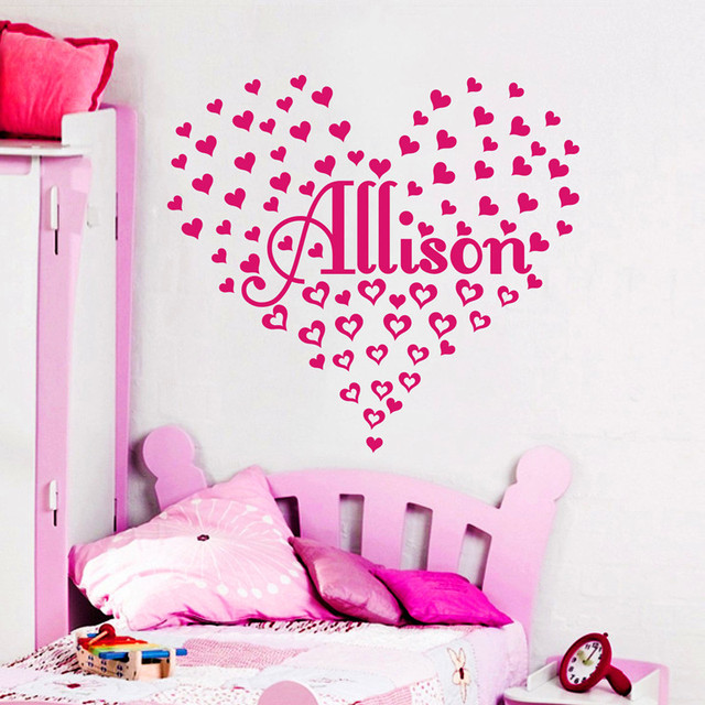2016 Personalized Named Heart Shaped Wall Stickers Custom Paste Shape,  Position, Name Baby Part 70