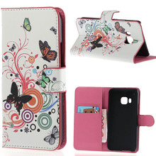 Circle Butterfly Flower Colorful Printing Leather Flip Wallet Stand Pouch font b Cover b font font