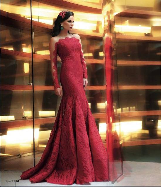 Robe De Soiree Romantic Sexy Dark Red Lace Mermaid Evening Dresses Long Sleeves Formal Gowns Celebrity Dress 2016