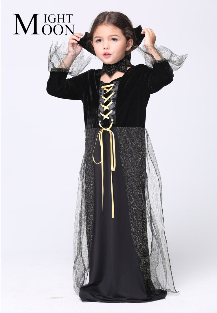 MOONIGHT Halloween Witch Cosplay Costumes Stage Performance Girl Fancy Child Dress Up Cartoo Dress Kids Carnival Party Outfit