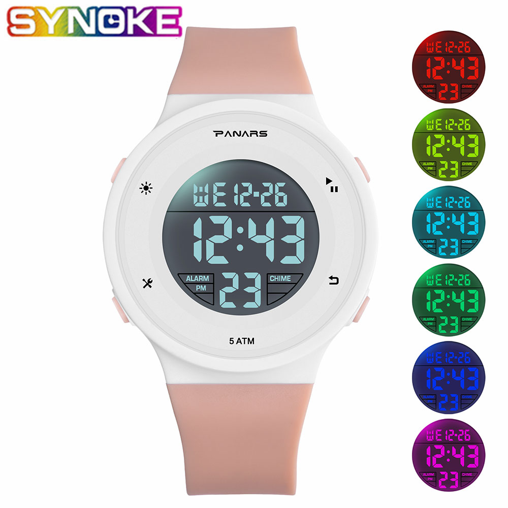 SYNOKE Children Digital Watches Sports Fashion Waterproof Colorful Luminous Wrist Watches Chronograph Alarm Clocks For Kids Gift