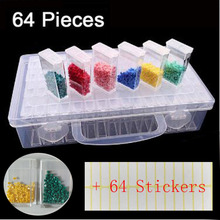 Stone Storage Accessory 64 Grids  Boxes Display Box Diamond Painting Cross Stitch Resin Rhinestone Beads Container