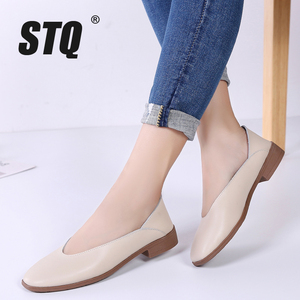 Image 1 - STQ 2020 Women Autumn Flats Shoes Genunie Leather Moccasin Shoes Slip On Sapato Feminino Ladies Casual Loafers Woman Shoes 2901