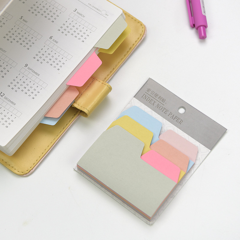 Index Divider Sticky Notes Paper Tabs, 90 Blank Notes Per Pack, Assorted Size, 6 Colors, 1 Pack