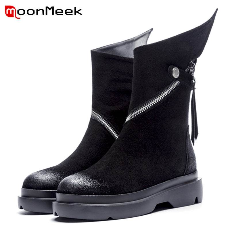 MoonMeek 2018 NEW fashion zipper ankle boots women cow suede leather boots round toe flat with spring autumn boots martine women ankle boots flat with chelsea boots for ladies spring and autumn female suede leather slip on fashion boots