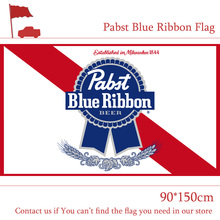 Free shipping 3x5 Feet 90*150cm PBR Pabst Blue Ribbon Nylon Indoor Outdoor Flag For Decoration