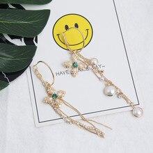 Asymmetric Long Pearl Tassel Earrings