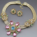 New Design Brand Gold Plated Austrian Crystal Women Necklace Earrings