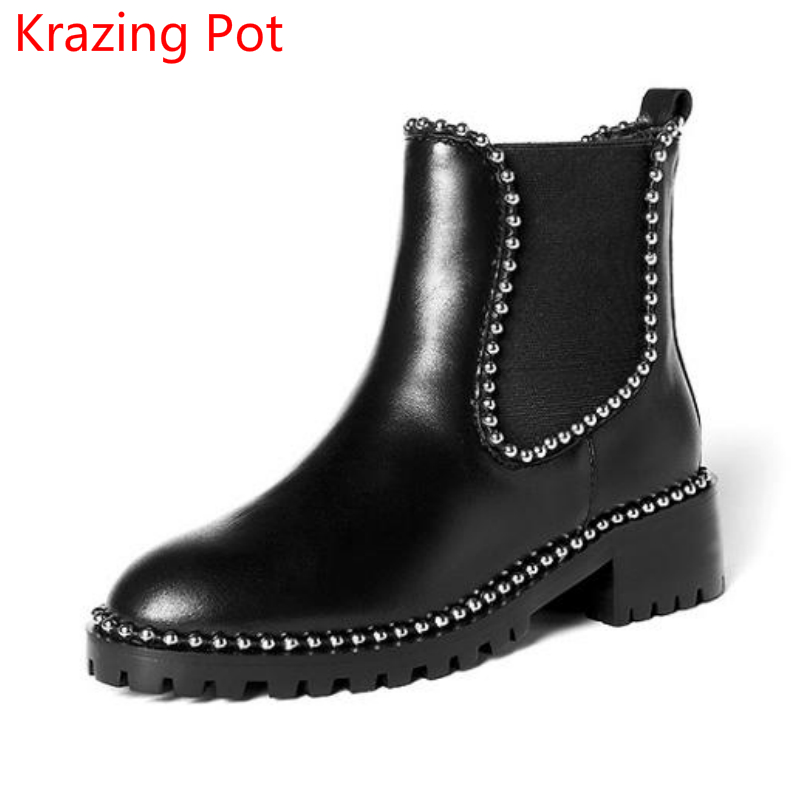 2018 Fashion Genuine Leather Rivets Med Heels Round Toe Chelsea Boots Fastener Slip on Handmade Beading Women Ankle Boots L72 tablet business pu leather stand case cover for samsung galaxy tab 3 10 1 inch p5200 p5220 p5210 with magnetic auto sleep