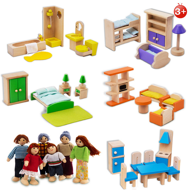 5 Rooms Kids Wooden Doll Furniture Whole Set Pretend Toy With Puppets For Doll House Baby Birthday Gift Wooden Kitchen Bedroom
