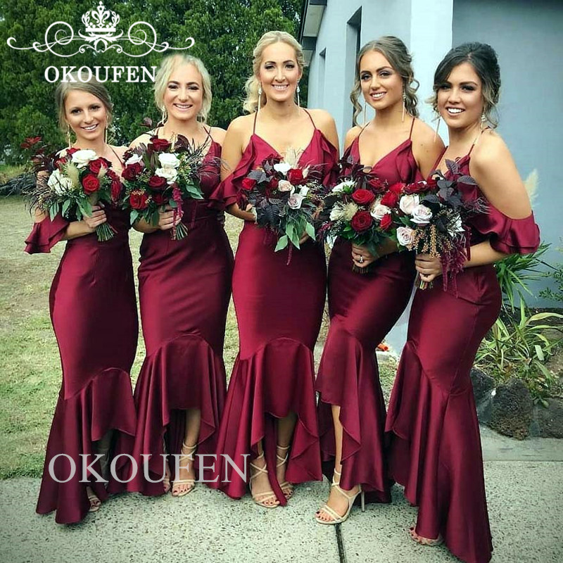 High Low Burgundy Long   Bridesmaid     Dresses   With Ruffles Sleeves 2019 Cheap Mermaid Party   Dress   Maid Of Honor Gown Vestido Longo