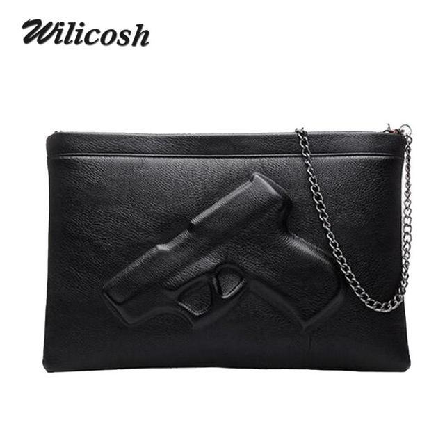 Wilicosh Pu Couro Bolsas de Ombro Para As Mulheres 2018 Do Vintage Bolsas De Couro Projetistas 3D Pistol Bag Mulheres Messenger Bags DB5097
