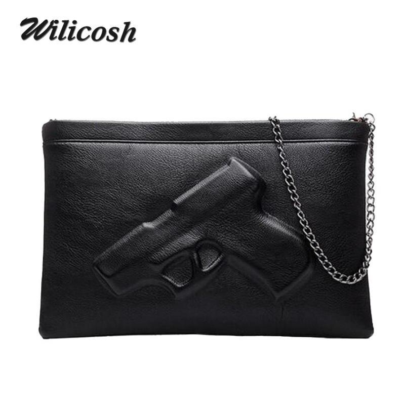 888a88dce66a Wilicosh Pu Leather Shoulder Bags For Women 2018 Vintage Designers Leather  Handbags 3D Pistol Bag Women Messenger Bags DB5097