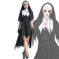 Anime Cosplay Nun Dress with Hat Gloves Necklace in Movie Show Horror Vampire Ghost Bride Costume Adult in Halloween Carnaval