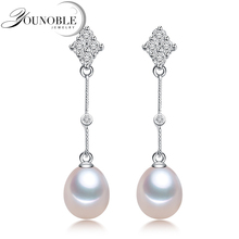 Bohemia Pearl Earrings 925 Silver Jewelry,Natural Freshwater Earring for Women,Trendy Wedding Girls Gift White Water Drop