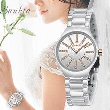 цена на SUNKTA New Quartz Women Watches Ladies Fashion Casual Waterproof Watch Women Ceramic Bracelet watch Girl clock Relogio Feminino