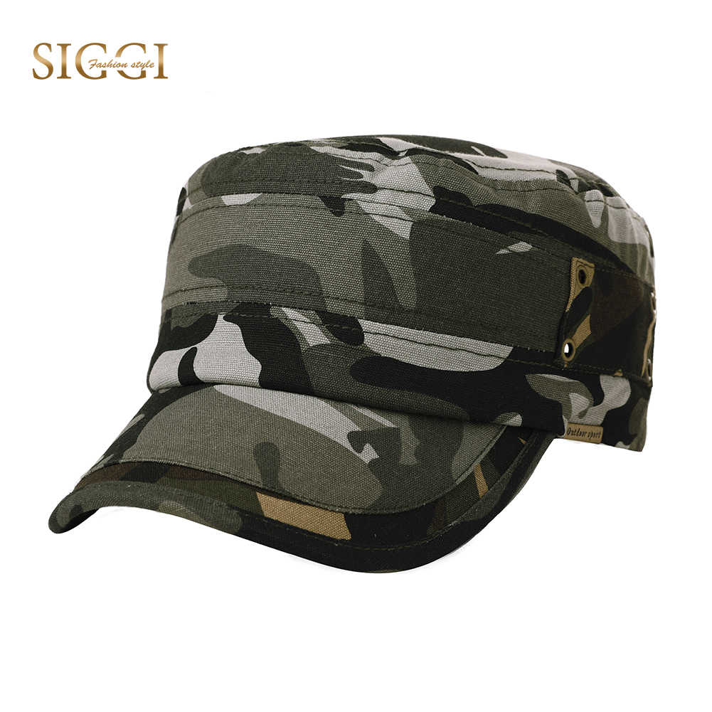 b82384ec FANCET Outside Casual Linen Unisex Military Hats 4 Panels Soft Breathable  Hole Adjustable Army Caps For