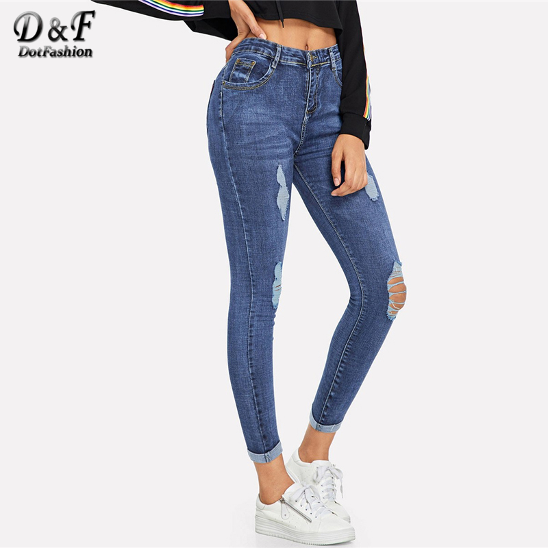Dotfashion Blue Roll Up Ripped Skinny   Jeans   Woman 2018 Autumn Casual High Waisted Pants Womens Clothes Zipper Fly Plain Trousers
