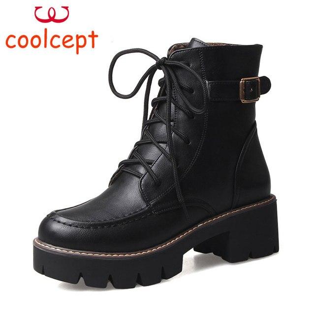 2521d0a5f977 Coolcept Plus Size 34-43 Women Tied Lace Up Women Boots Warm Winter Thick Platform  Work Fashion Shoes Women Factory Wholesale