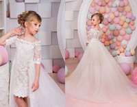 2018 Girls Pageant Dresses Long Trailing Ball Gown White Lace Tutu Little Baby Flower Girl Dresses For Weddings