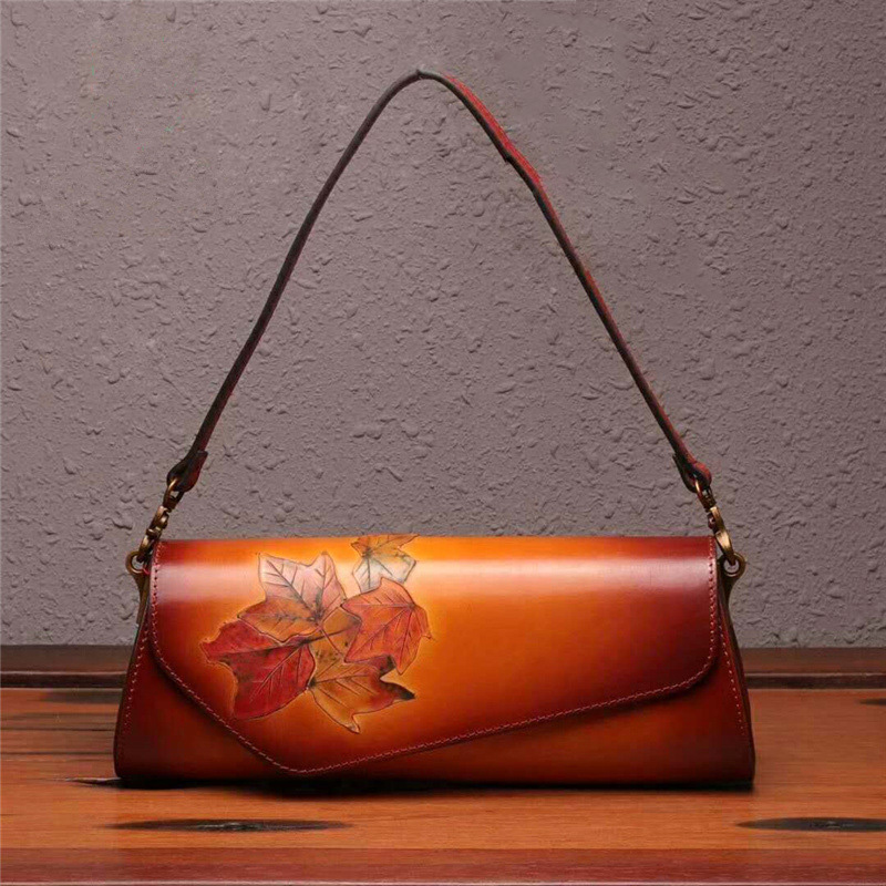 2018 Genuine Leather Women Handbag Handmade Vintage Flower Ladies Day Clutch Evening Bags Crossbody Shoulder Bag mobile phone mini bags small shoulder bag simple genuine leather crossbody women handbag day clutch purse sli 362