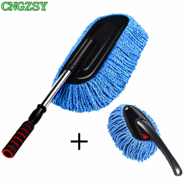 2pc Multi Functional Microfiber Car Exterior Retractable Dust Cleaning Brush Duster Mop Home Washer Wax Drag Long Handle C03 C05 In Sponges Cloths