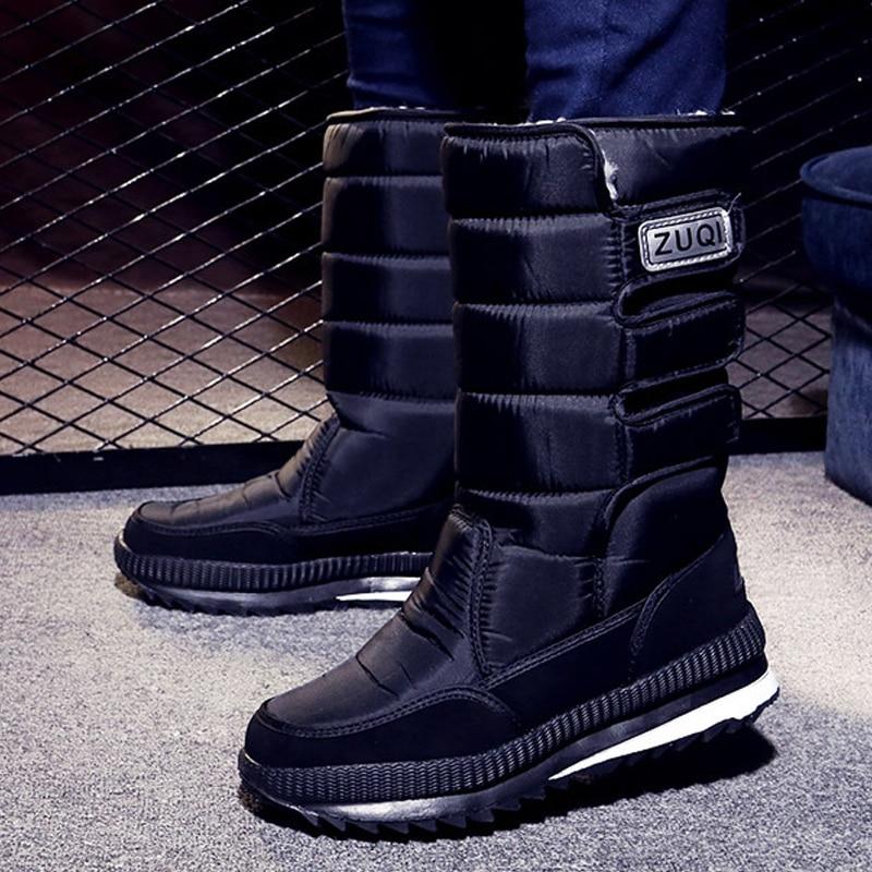 Men Boots Platform Snow Boots For Men Thick Plush Waterproof Slip Resistant Winter Shoes Plus Size 36 -  47 2019 Winter