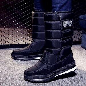 Image 1 - Men Boots platform snow boots for men thick plush waterproof slip resistant winter shoes Plus size 36    47 2019 Winter