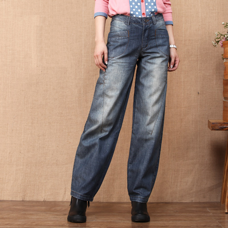 Unique Design 2017 Women's Loose Wide Leg Pants Spring and Autumn Straight Denim Bloomers Jeans