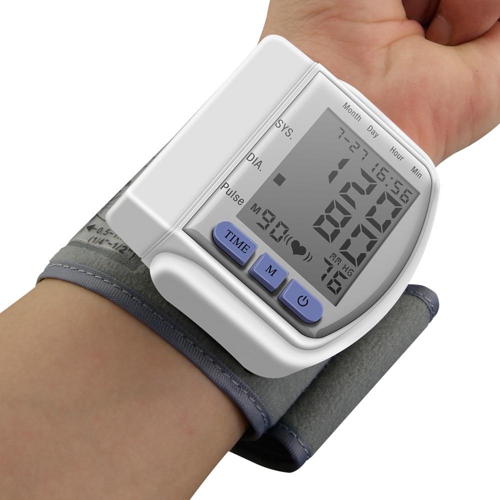 Heißer Automatische Hause Handgelenk-blutdruckmessgerät Lcd Digital Display Pulsmessgerät Und Tonometer Monitor Herz-schlag-messinstrument