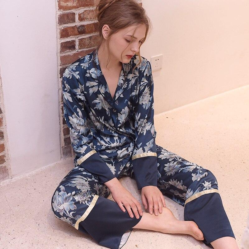 Spring Thin Sexy Silk Pajamas Long Sleeved Trousers Pyjamas Women Blue Printing Cardigan Pijama Mujer 2-piece Set Sleepwear