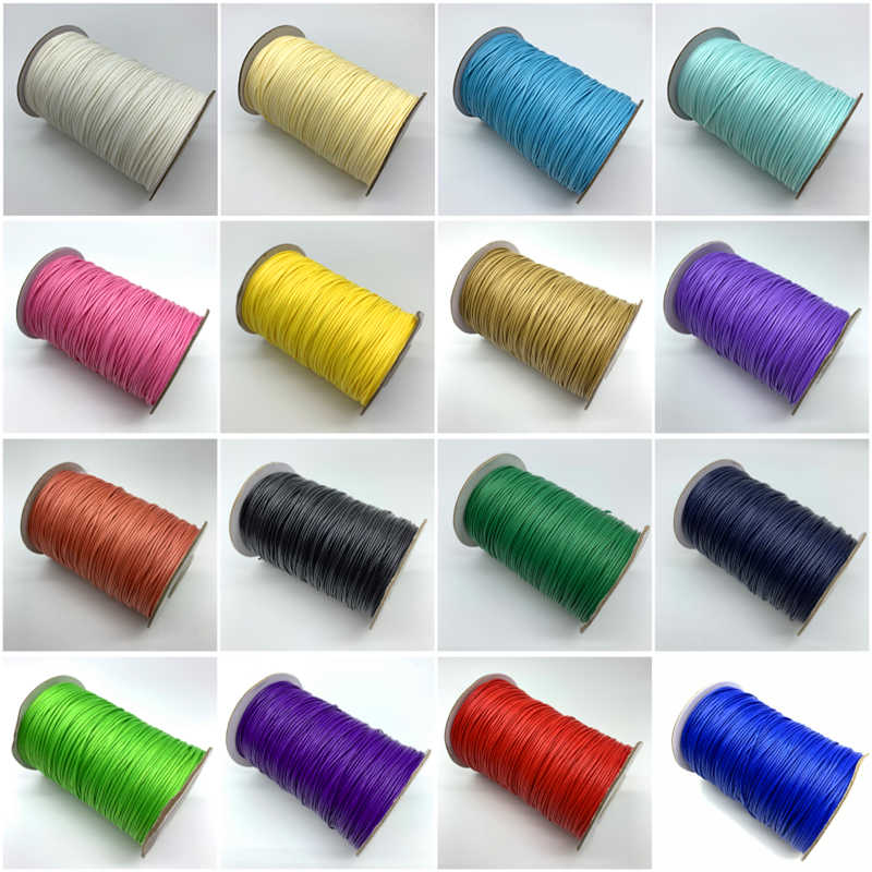 10 yards/Lot 1mm cordon de coton ciré fil ciré cordon chaîne sangle collier perles de corde pour la fabrication de bijoux pour Bracelet Shamballa