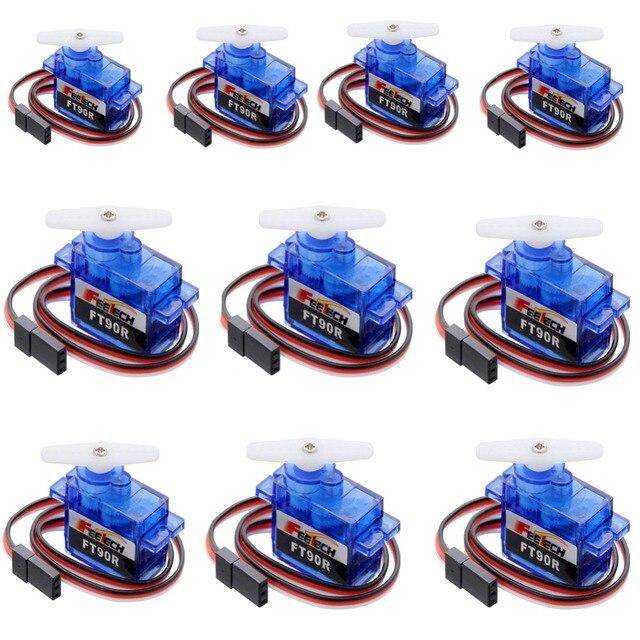 10 ピース Feetech FT90R サーボ、 360 度連続回転 9 グラムマイクロ RC サーボ、 6 ボルト 1.5 キログラム Pwm ドローンスマート車、ボート、ロボット