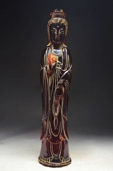 Exquisite Chinese fine artificial amber resin statue - Kwan-yin
