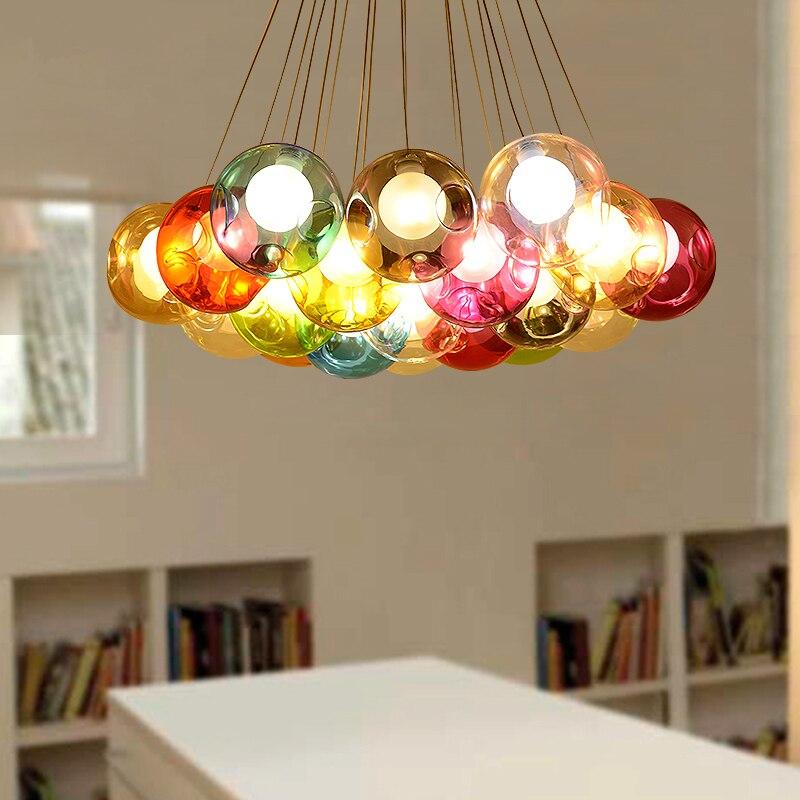 Post modern living room hanging lights Glass ball chandelier Nordic fixtures bedroom suspended lamps LED suspension luminaires стоимость
