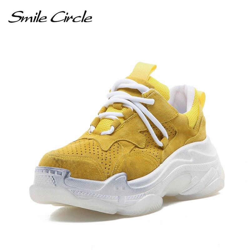Sourire cercle baskets femmes chaussures compensées plates 2019 printemps Chunky à lacets en cuir véritable respirant courir des chaussures décontractées femmes-in Chaussures vulcanisées femme from Chaussures    1