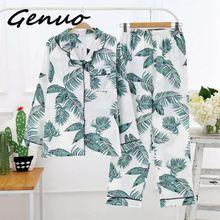 Genuo New Autumn Spring Women Pajamas Sets Print Long Sleeves Shirt+Pants Nightwear Cotton Sleepwear Coton Pijamas Plus size