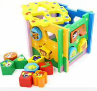 Children's Wooden shape matching cartoon animal intelligence box assembly block